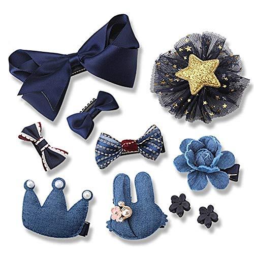Missoul 10 pcs girls hair bows clips lovely ribbon bowknot flower hair clips bow hairpin barrette for baby girls kids gift (blue)