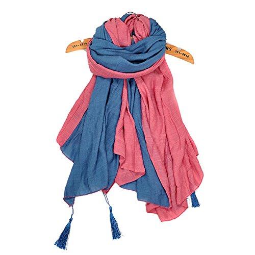Butterme Damen Herbst/Frühling Neck Warm Strickschals Doppel Farben Soft & Lange Schal mit Tassel Wraps Umhängetuch (Damen Wrap Doppel)