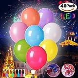Afuqa Bunte LED Luftballons, 40 Stücke Leuchtende Ballons für Hochzeit Party/Geburtstag/Festival/Weihnachten Dekoration mit Bunte Ballons