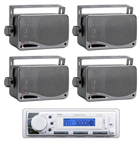 Pyle plmr20W weiß marine am/fm radio Player USB Eingang + 4) Mini Box Lautsprecher