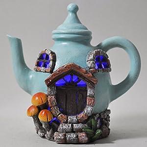 51Bt%2BkZW5xL. SS300  - Fairy Garden UK Teekanne House Light bis Mystical Garden für Innen LED Leuchtmittel DECOR-batteriebetrieben Elf Pixie Vintage Home H12cm