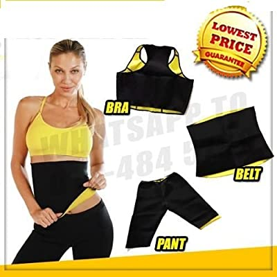 SWEET SWEAT WAIST TRIMMER Women's Combo of Pant, Belt and Bra Stretch Slim Body Shapers (XL, XXL, XXXL)