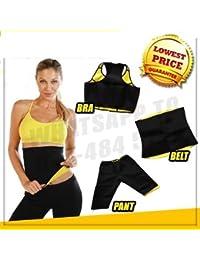 SWEET SWEAT WAIST TRIMMER Women's Combo of Pant, Belt and Bra Stretch Slim Body Shapers, XL,XXL,XXXL (sliming b&p 2)