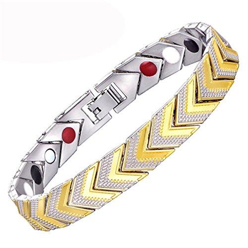 Profitd Damen Armbänder Magnetisches Armband-Armband für Frauen-Edelstahl-Bioenergie-Armband-Goldmodeschmuck (Bioenergie Leben)