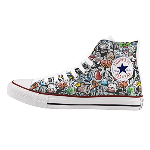 Converse in Tela Alta Top Sneaker UK 10 GRAFFETTA Pattern