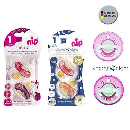 NIP Cherry & Cherry Night Schnuller Set 6 Stück (2 x Day Bordeaux-Lila + 4 x Night Girl mix) // Gr.1 // Naturlatex, 6 Farben