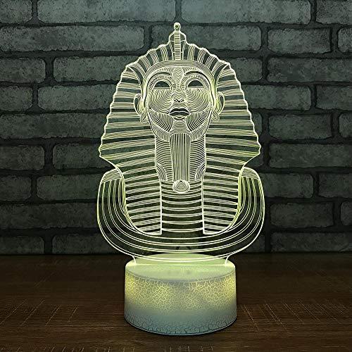 YDBDB Nachtlicht Nacht 3D Led Nachtlicht Pharao Ägypten Statue Leuchte Usb 7 Farbwechsel Gradienten Schreibtischlampe Wohnkultur Zimmer Schlaf Geschenk
