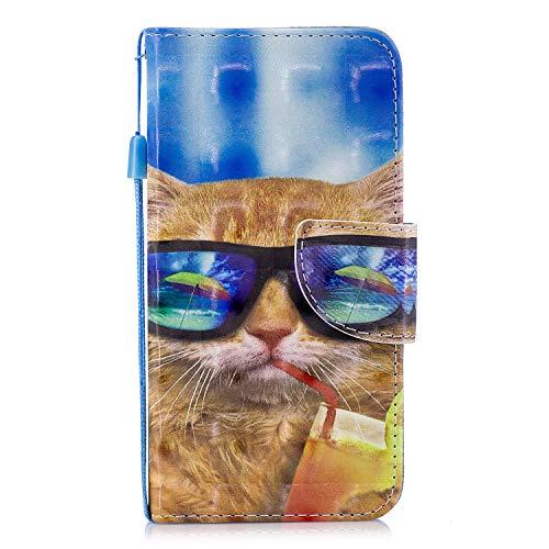 ShinyCase Flip Brieftasche PU Ledertasche für Redmi 4X(4) Leder Handyhülle Wallet Case 3D Bling Glitzer Tasche im Brieftasche-Stil Katze mit Brille Muster Cover Schütz Hülle Abdeckung Ledertasche