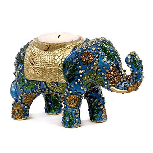 Good-will Buena voluntad: Resina y Tela Floral Indio Azul y Oro Elefante té Vela portavelas