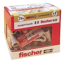 Fischer 25 Tasselli Duopower con Vite, 8 x 40 mm, per Muro pieno, Mattone Forato, Cartongesso, 544017