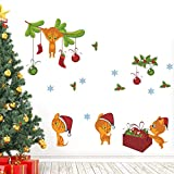 Weihnachten Katze Glocke Schneeflocke Wandaufkleber Für Kinderzimmer Schaufenster Wohnkultur Neujahr Geschenk Pvc Wandtattoos Diy Wandbild Kunst 50x70 cm