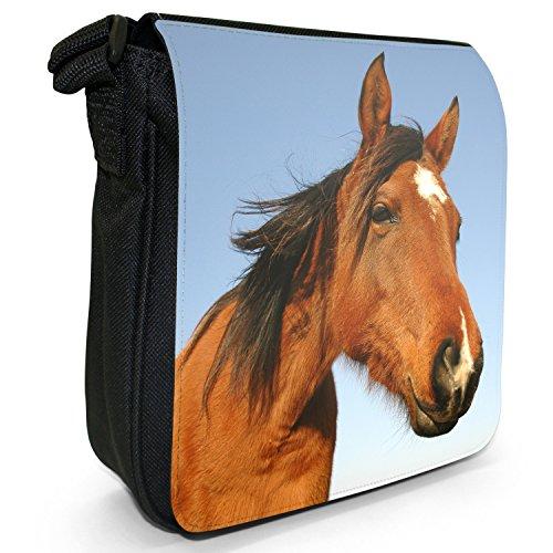 Elegante cavallo marrone piccolo nero Tela Borsa a tracolla, taglia S Close Up Smiling Brown Horse