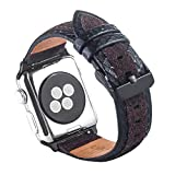 ToMoYi Armband für Apple Watch 42mm 44mm, Lederarmband Vintage Uhrenarmband Ersatzband mit Edelstahlschließe für Apple Watch Series 4,Series 3, Series 2, Series1 Nike+ Hermes&Edition Damen Herren