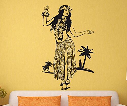 Wandtattoo Wandaufkleber Hula Tänzerin Hawaii #196C schwarz 106x170cm (RAL9005)