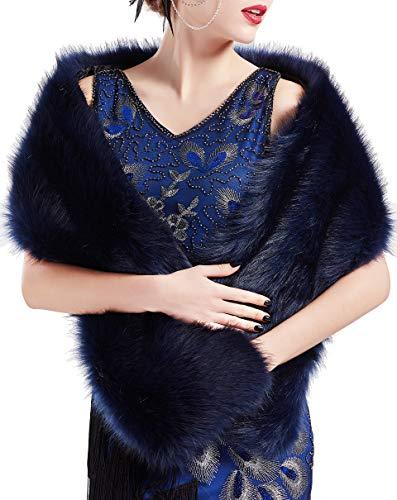ArtiDeco Damen Kunst Pelz Schal Flauschig Faux Pelz Umschlagtuch Kragen für Wintermantel 1920er Jahre Flapper Accessoires Outfit Warm Zubehör 120 cm lang (Blau Breit)
