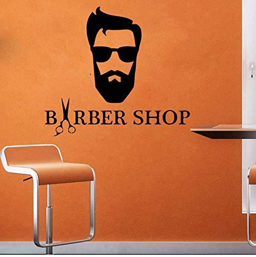 DongOJO Hipster Frisur Wandtattoo Herren Barbershop Vinyl Aufkleber Mode Brille Fenster Vinyl Aufkleber Haarschnitt Bart Gesicht Salon 64x57cm