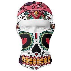 NAA Vollgesichtsmaske Mexican Sugar Skull Girl Outdoor-Gesichtsmaske Halsmanschette für Staub Sonnenschutz Kopfwickel