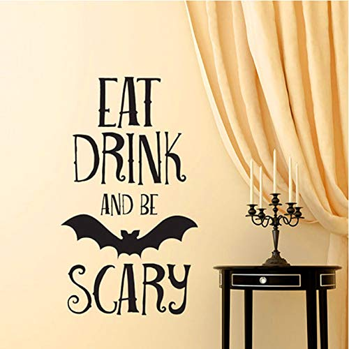 Trinken Be Scary Quotes Halloween Party Aufkleber Hause Raumdekoration Abnehmbare DIY Wandaufkleber 30X55 cm ()