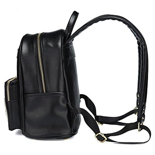 FZHLY Nuove Signore Borsa A Spalla Di Personalità Cute Little Backpack,Beige Black