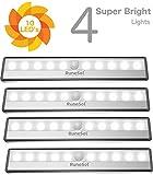 RuneSol® Batterie Bewegungssensor Schrankbeleuchtung / 4 x 10 LED-Lichter / Superhelle Bewegungsmelder Nachtlichter 4er-Pack / Kabellose LED Schrankbeleuchtung für Ihre Trepp
