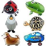 Ballon - SODIAL(R)6pcs Kind Party Tier Ballon- inklusive Pinguin, Shepherd,Kaefer,klein Auto,Frosch,Schildkroete