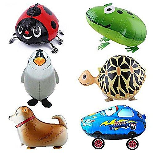Preisvergleich Produktbild Ballon - SODIAL(R)6pcs Kind Party Tier Ballon- inklusive Pinguin, Shepherd,Kaefer,klein Auto,Frosch,Schildkroete