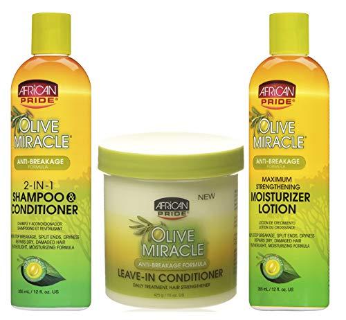 African Pride - Lot de 3 soins capillaires anti-casse Olive Miracle - shampoing et après-shampoing 2 en 1 355 ml/après-shampoing sans rinçage 425 g/lotion hydratante ultra-fortifiante 355 ml