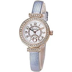 Fashion Rhinestones PU Strap Quartz Women Wrist Watch,Grey