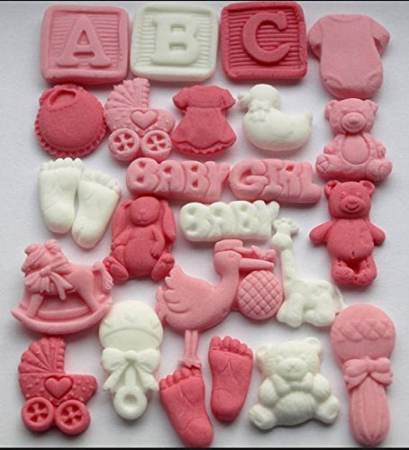 Baby Dusche für–Essbare Fondant Baby Girl Cupcake Topper, Dekorationen, ersten Geburtstag Party, Taufe, enthüllen Geschlecht Party