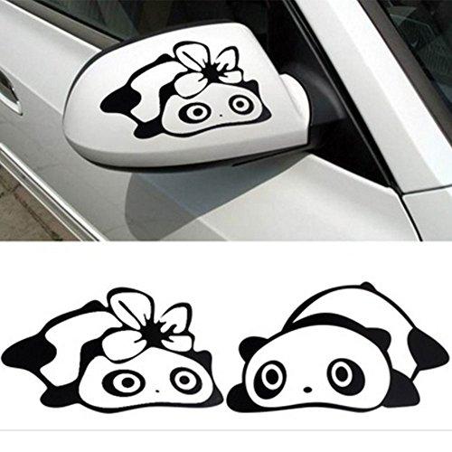 Hanbaili 2PCS Panda PET Aufkleber Auto-Fahrzeug-Flügel-Spiegel-Rückspiegel-Abziehbild 3D Dekoration