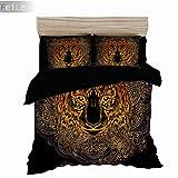 GAOXUE Bettwäsche Bettbezug Kopfkissenbezug,3D-Bedruckte Bettwäsche mit weichem und antiallergischem Bettbezug und Kissenbezug, geeignet für EIN Doppelbett @ 228 * 228 (3 Stück) _Schwarz 1