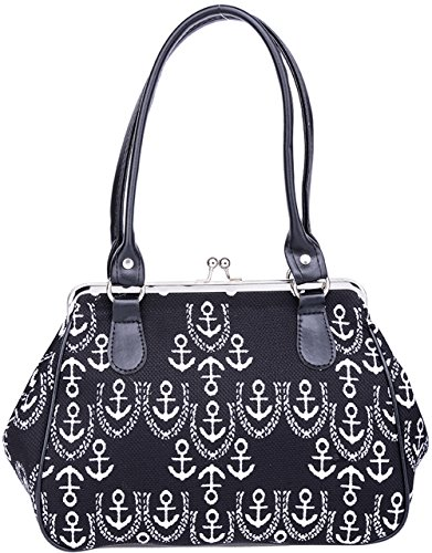 Küstenluder Damen Tasche Alona Sailor Anker Retro Bag Schwarz