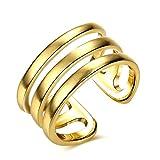 Epinki Damen Ringe, Vergoldet Verlobungsringe Öffnung Linie Lassa Gold Gr.52 (16.6)