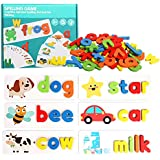 Toworld See and Spelling Learning Toy, Matching Letter Games Sight Word Flash Cards Montessori Wooden Educational Toys Gifts