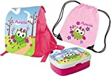 Mein Zwergenland Set 4 Kindergartenrucksack, Brotdose und Turnbeutel Variant mit Namen, 3-teilig, rosa