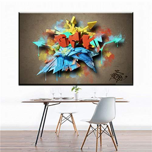 XWArtpic Kreative Straße Graffiti Kunst Spray Leinwand laufenden Zebra abstrakte Kunst Leinwand Bilder Öl Kunst Malerei für Wohnzimmer Schlafzimmer Dekoration 60 * 90 cm -