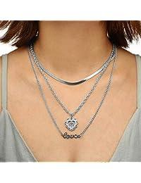084755da857 Jovono multicouches collier tour de cou pendentif amour croix collier chaîne  bijoux pour femmes et filles