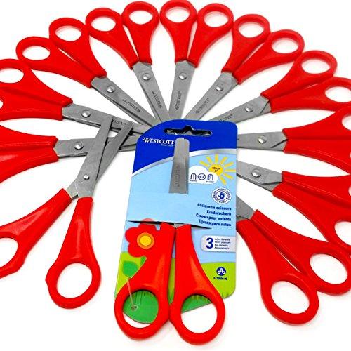 12x Kinder/Kid 's rot Rechtshänder Schere mit Lineal Edge–Westcott Marken Blister Pack–[e-2059000]