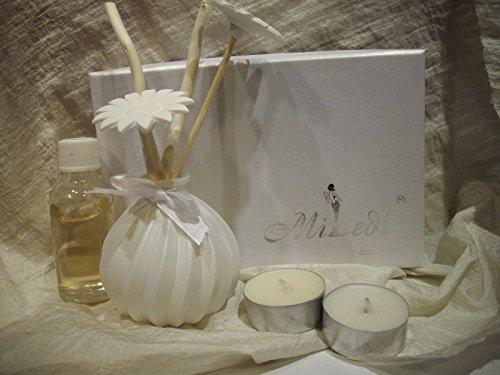 Set profumatore ambiente in vetro bomboniera con scatola e candele e profumo