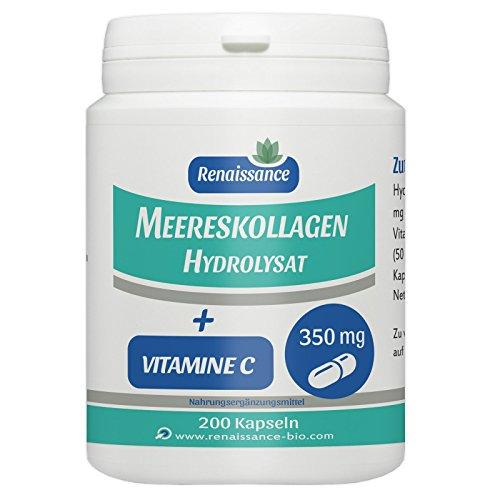 Meereskollagen Hydrolysat und Vitamin C - 350mg - 200 Kapseln