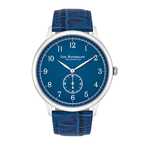 Joh. Rothmann Malvin Herrenuhr blau/silber Edelstahl Armband Echtleder blau 5 ATM 10030109