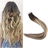 FShine 20 Zoll Balayage Tape Haar Erweiterungen Haarfarbe #3 Fading to #6 and #22 Real Haar Tape in Erweiterungen Blond Ombre 20 Pcs 50 Gram