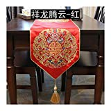 JUNYZZQ Chemin De Table Dining Table Classical Chinese Coffee Xianglong Embroidery Bed Tail Flag Decoration TV Cabinet Flag 30X180Cm