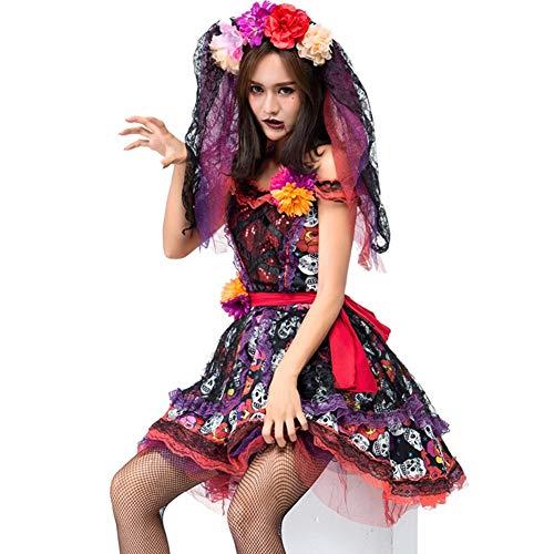 Tjtcs Erwachsene Frauen Day Death Halloween Schädel Skeleton Horror Ghost Vampire Corpse Braut Kostüm Cosplay Dead Sugar - Schädel Braut Kostüm