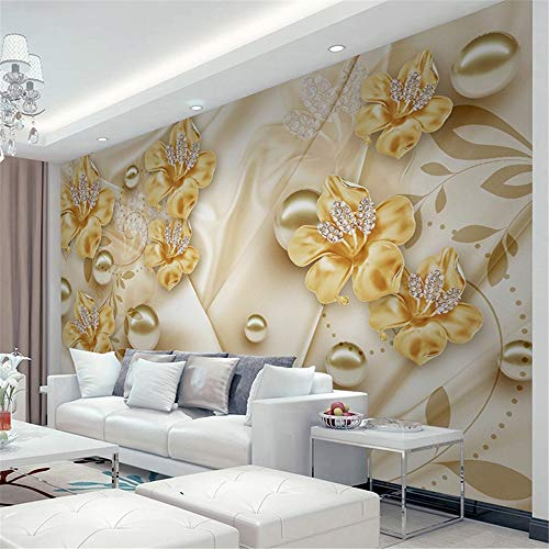 YBHNB 3D Abstract Art Mural, Custom Mural Tapete for Walls 3D Diamond Jewelry Flower 3D Wall Painting Art Living Room Sofa TV Background Photo Wall Paper,280X200CM (Paper Diamond)