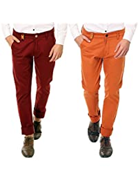 Nimegh Royal Maroon and Royal Orange Color Slim Fit Cotton Casual Trouser For Men's (Pack Of 2)