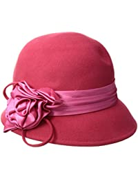 686f4a12bac Sakkas Marilyn Vintage Style Wool Cloche Bucket Winter Hat with Satin Flower