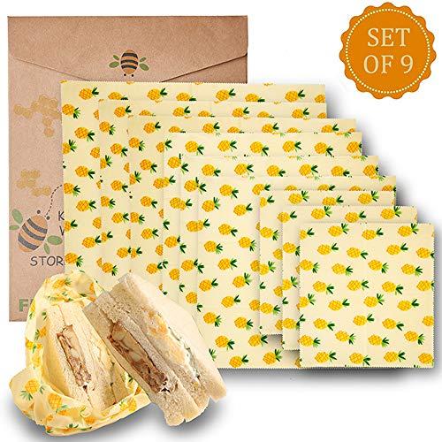 Y&J 9er Set Wachspapier Bienenwachstücher aus natürlichem Bienenwachs und Öko-Tex Baumwolle ..., Kunststoff, Yellow, 9