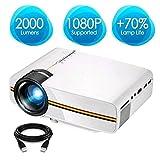 Prtorcz Mini-Projektor-Video-LED-Projektor-Heimkino-Portable, 1800-Lumen-Kabel-Sync-Anzeige, 1080P Multimedia-Projektor Unterstützung HDMI, VGA, USB, AV, SD für Film