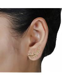 Aaishwarya Petite Golden Leaf Stone Ear Cuff Studs For Women & Girls